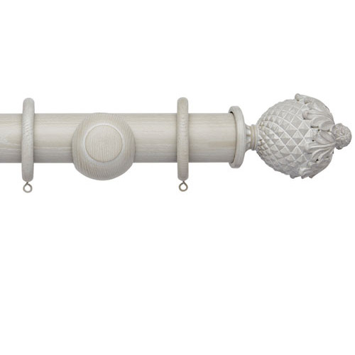Heritage Grey Curtain Pole Set With Botanical Finials